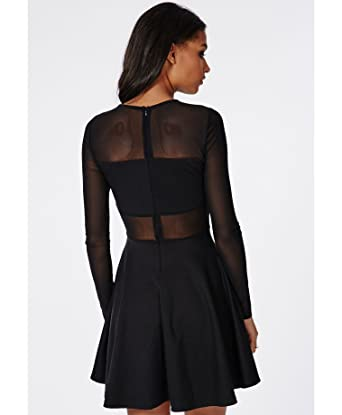 541e4f3e0f57 Womens Insert Mesh Insert Long Sleeve Skater Dress Black - 4  Amazon.co.uk   Clothing