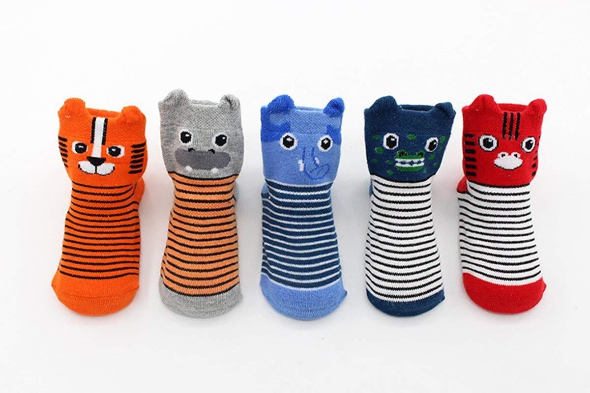 FlyingP Baby Socks 5 Pairs Anti Skid Slip Socks Non Skid Ankle Cotton Socks Baby Walker Grip Socks for 12-36 Months Toddler and Infants by FlyingP (Image #2)