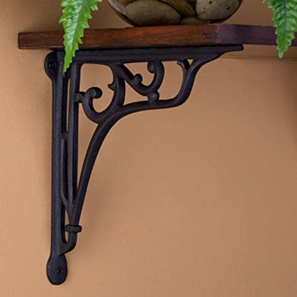 Naiture Whorl Cast Iron Shelf Bracket Black Powder Coat Finish