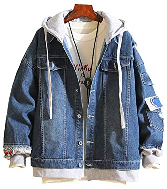 a5ffe19a1 LifeHe Men Denim Jacket with Hoodie with Patches Oversized