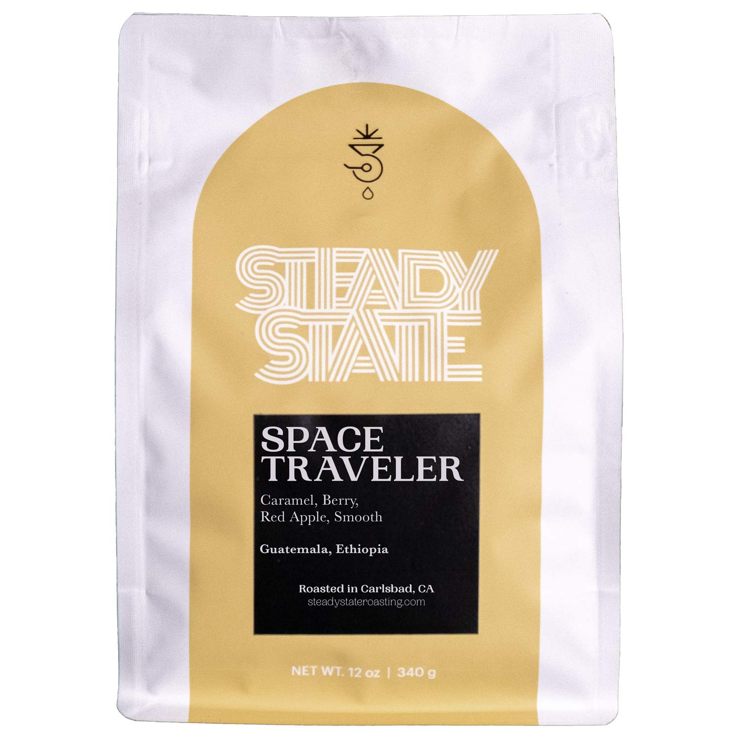 Whole Bean Coffee, Light Roasted Blended Coffee, Space Traveler 12oz Coffee Bag, Caramel, Chocolaty, Coffee Beans by Steady State Roasting