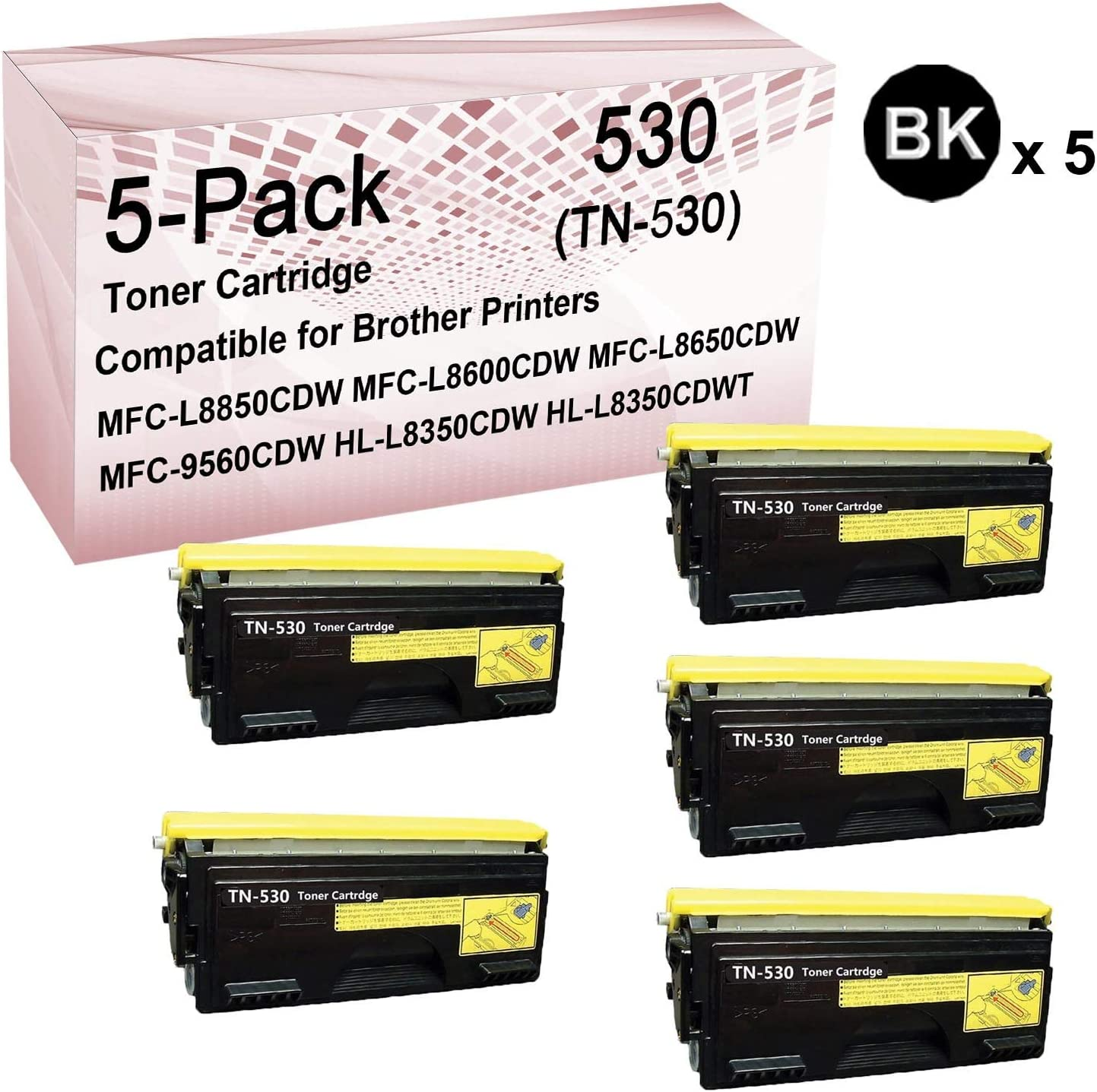Compatible High Yield TN530 Toner Cartridge Use for Brother DCP-9270CDN DCP-L8400CDN DCP-L8450CDW Printer 5-Pack Black