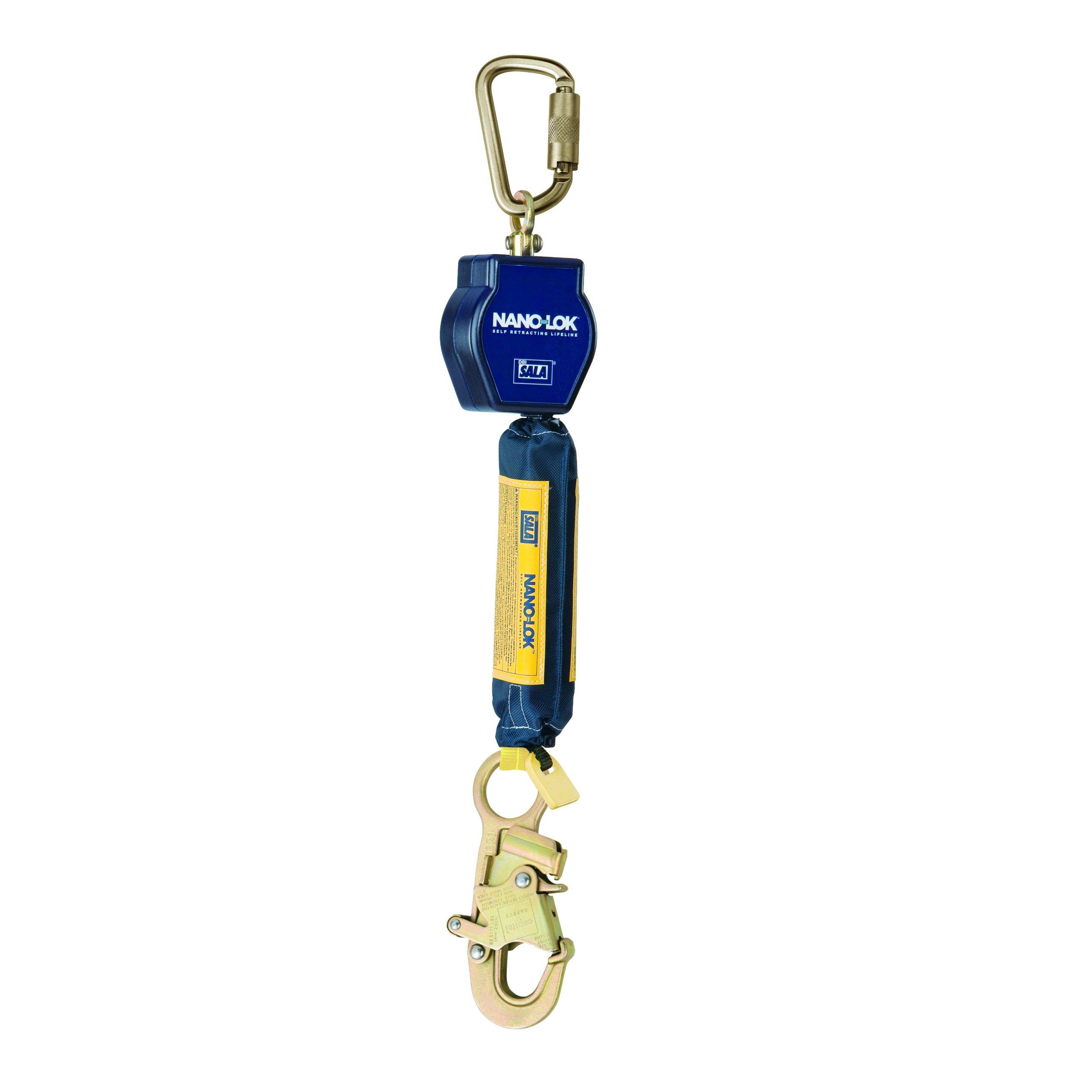 3M DBI-SALA Nano-Lok 3101215 Self Retracting Lifeline, 6', 3/4'' Dynema Polyester Web, Snap Hook, Swiveling Anchor Loop with Carabiner, Blue