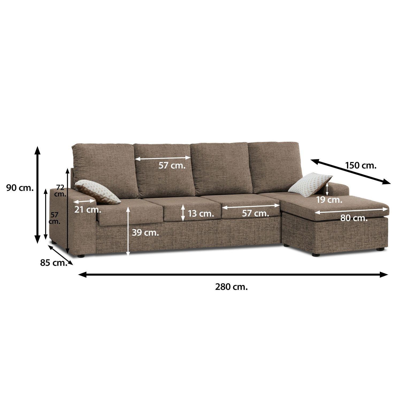 Sofa con Chaise Longue 4 plazas color marrón cheslong Redondela chaiselongue
