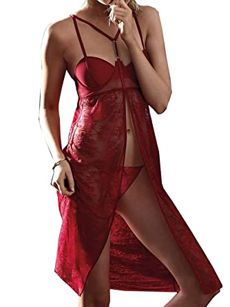 ae21b1d494 Image Unavailable. Image not available for. Color  Victoria s Secret Very  Sexy Red Flyaway Chantilly Lace Flyaway Slip Lingerie 36 D