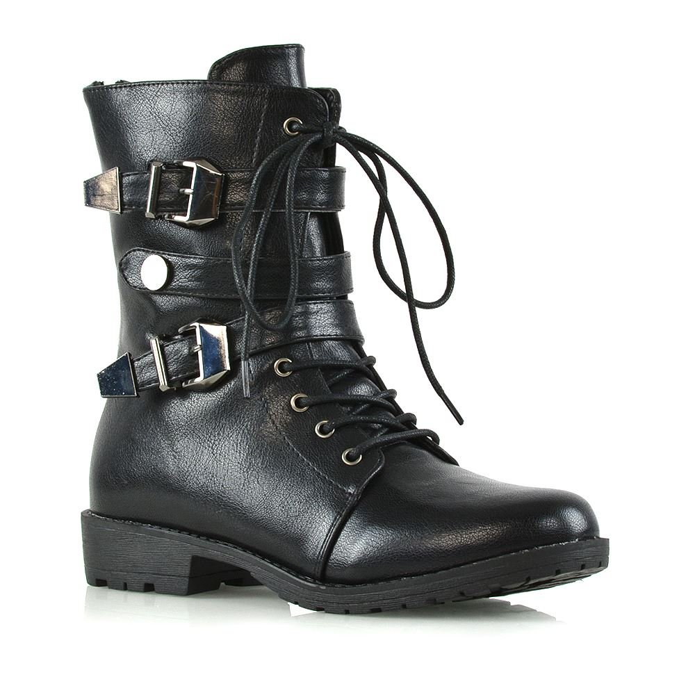 ESSEX GLAM Womens Mid Calf Boots Lace Up Zipper Buckle Black Synthetic Leather Military Biker Boots 9 B(M) US