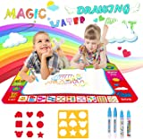 Soneer Water Magic Doodle Mat, Drawing Painting Mat(60×80cm) with 4 Magic Pen and 2 Drawing Templates,Reusable Aqua Water Drawing Mat, Ideal Gift for Toddlers, Boys, Girls