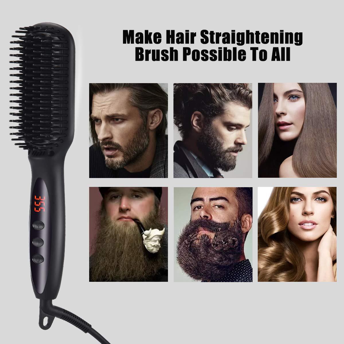 Beard Straightener for Men, WLWQ Beard Straightening Heat Brush LCD Display Adjustable Temperature Anti-Scald Hair Straightener Beard Comb for Home and Travel