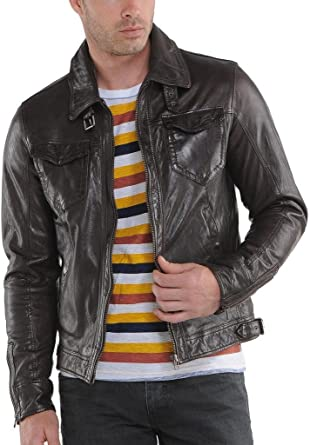 Mens Biker Motorcycle Soft Quilted Black Real Leather Jacket