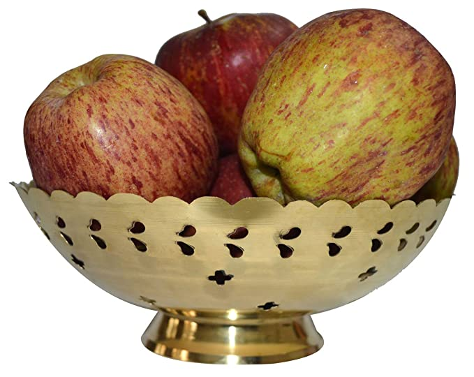 Real Expo Gold Brass Finish Hand Carved Fruit Tray Dinnerware & Serving Pieces at amazon