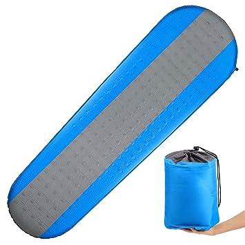 Mosie Almohadilla de dormir autoinflable para acampada, ligera y compacta acolchada de espuma impermeable, ideal para acampada, senderismo, mochila.