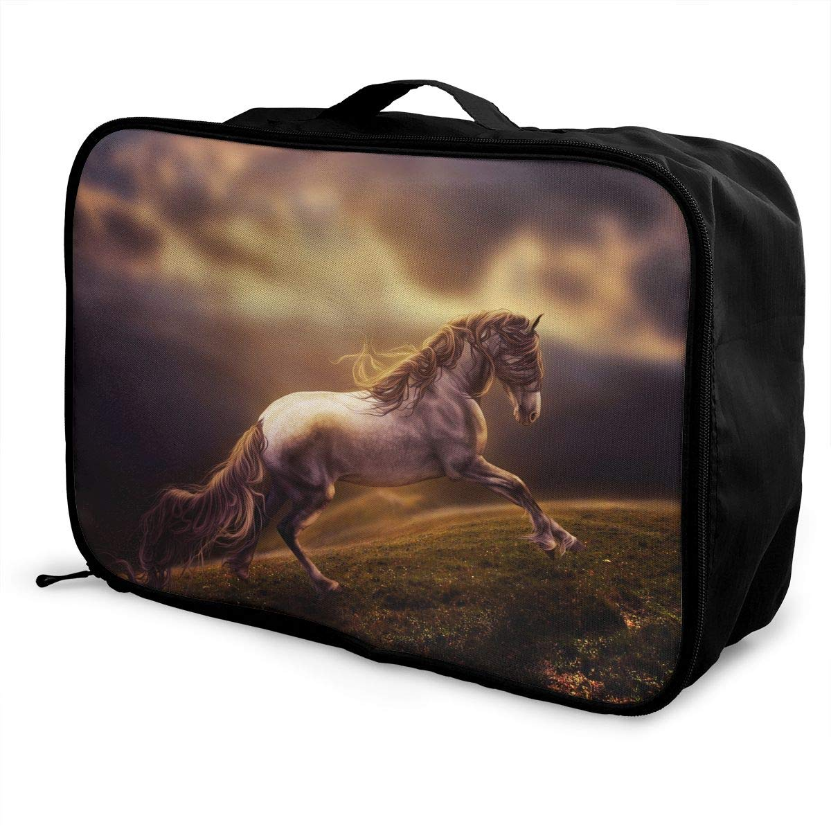 Travel Luggage Duffle Bag Lightweight Portable Handbag Fantasy Horse Print Large Capacity Waterproof Foldable Storage Tote