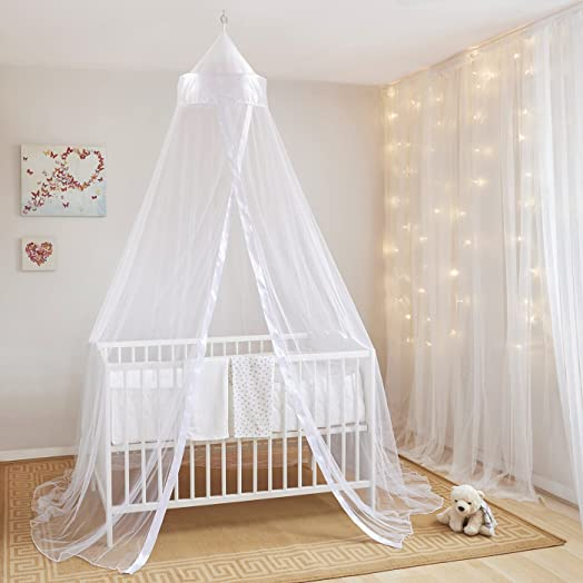 WHITE BED CANOPY INSECT PROTECTION FOR BABIES AND COTS Easy To Install Baby Bed Canopy