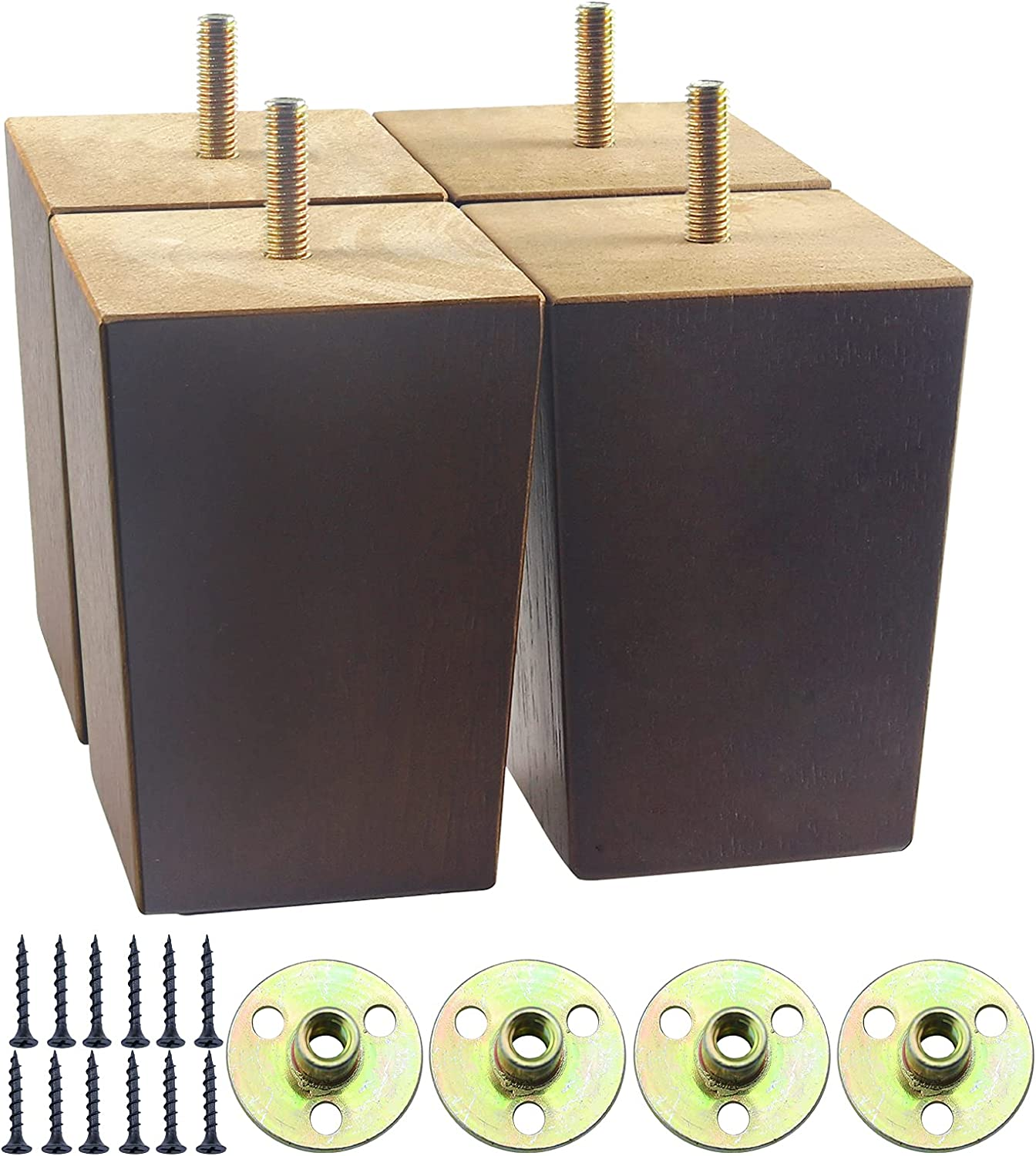 4 inch Wood Furniture Legs, Square Sofa Legs for Furniture Set of 4, Mid-Century Modern Couch Legs Replacement for Bed,Armchair, Loveseat, Dresser, Ottoman Cabinet, Nightstand