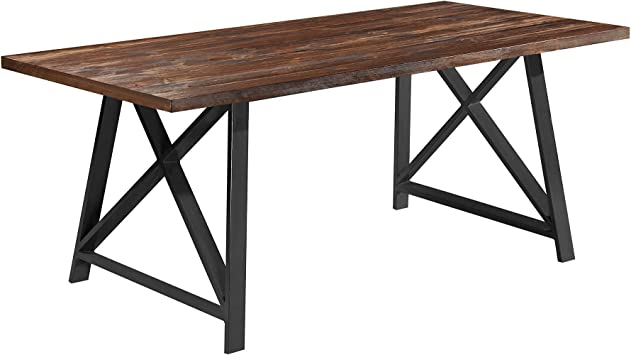 Amazon Com 2xhome Mid Century Modern Contemporary Farmhouse Dark Wood Wooden Dining Table Brown Metal Gray Legs For Kitchen Dining Table Living Room Restaurant Commercial Tables