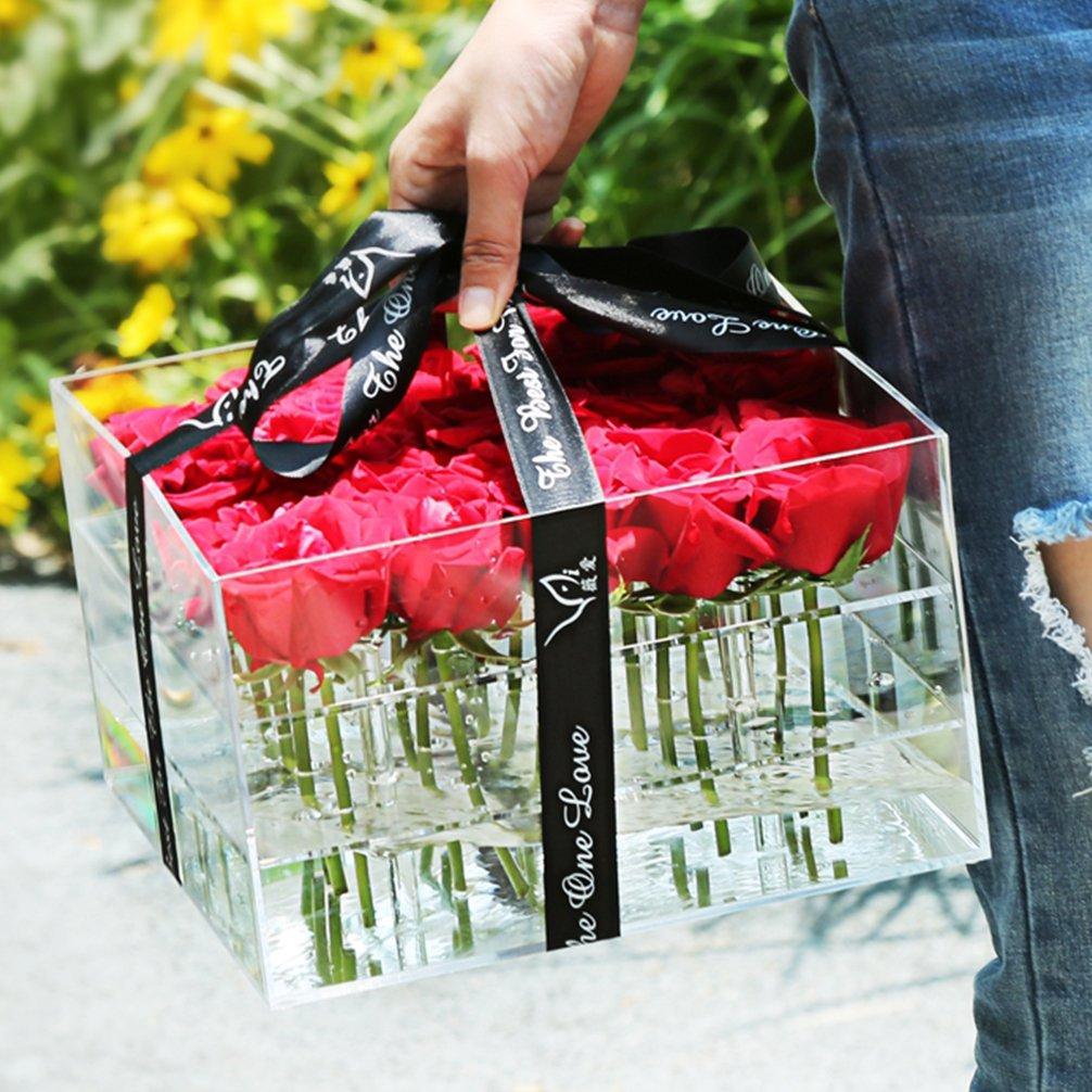 Weiai Clear Acrylic Rose Box Wedding Flower Gift Diagram Rosebox Square Multifunctional Water Holder Pot Makeup Organizer C217 Series 25 Holes