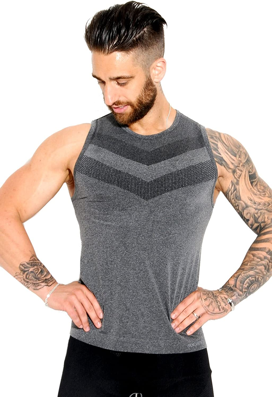 Sundried Mens Ajuste del músculo del Chaleco sin Mangas de compresión Gimnasio Top