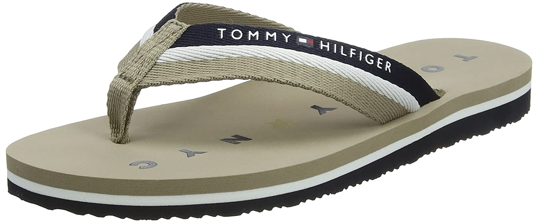 Tommy Hilfiger Damen Tommy Loves NY Beach Sandal Zehentrenner, Beige (Cobblestone 068), 36 EU