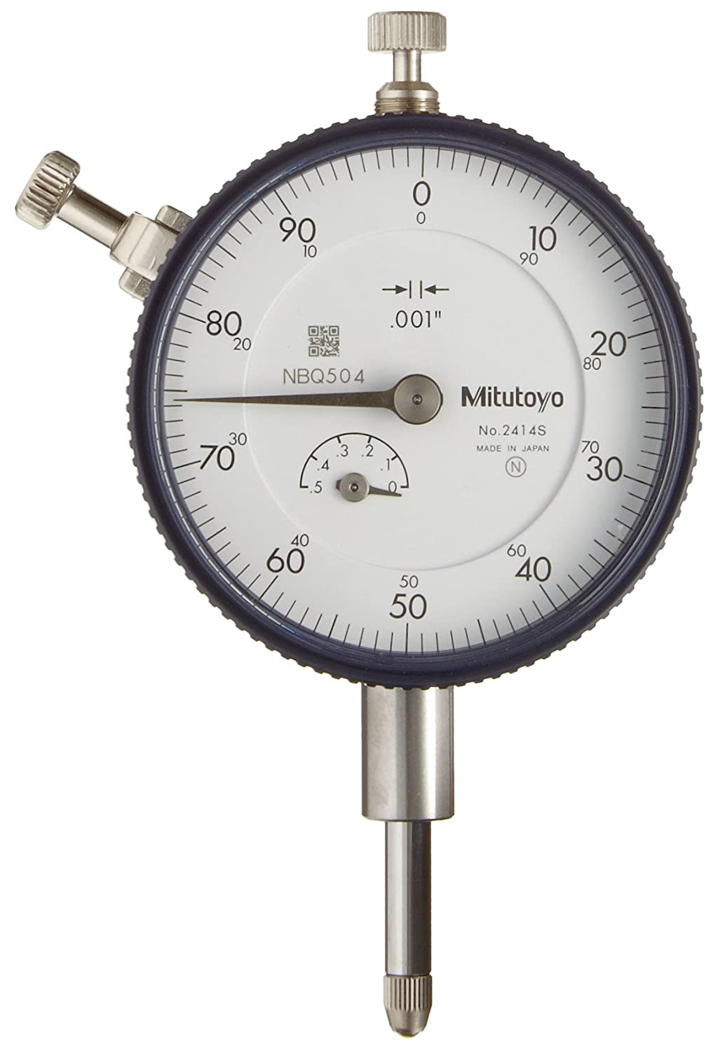 "Mitutoyo/""2416S/"" Dial Indicator 4-48 UNF Thread 0.375/"" Stem Dia,/""Lug Back,/"" Whi"