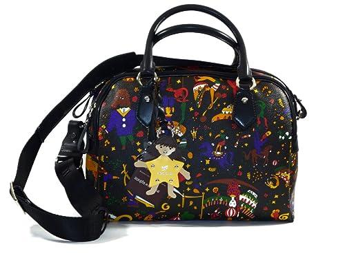 9e1ee40ba459 Piero Guidi Magic Circus Black Boston Bag - SIZE (cm)   W.39 H.29 D.12   Amazon.co.uk  Shoes   Bags