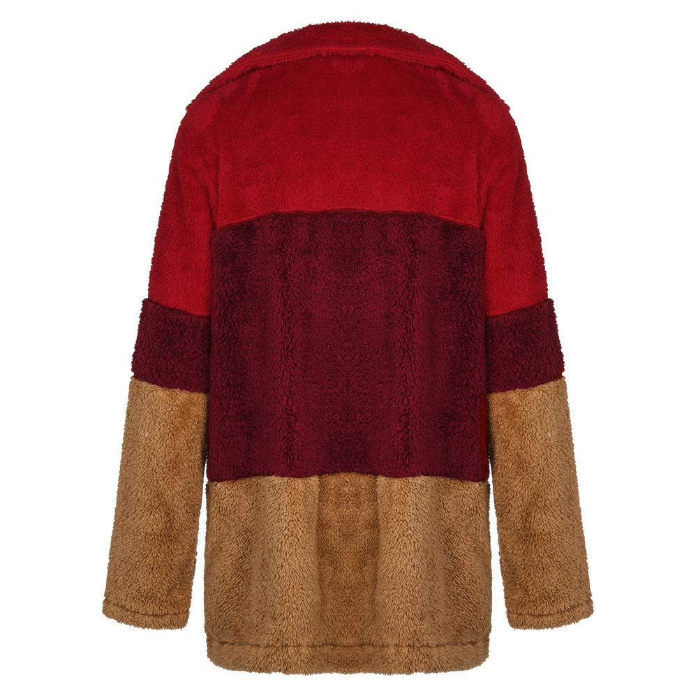 Amazon.com: Colorblock Faux Fur Ladies Casual Jacket Warm ...
