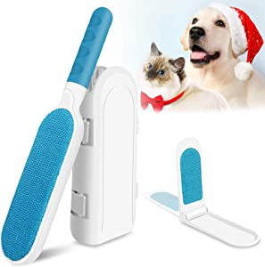 Pet Hair Remover Brush, Reusable Dog Cat Hair Removal Tool with Double Sided Absorb, Ergonomic Handle, Travel Size Self-Cleaning Brush Lint Fur Remover for Short & Long Hair, Furniture, Car, Couch