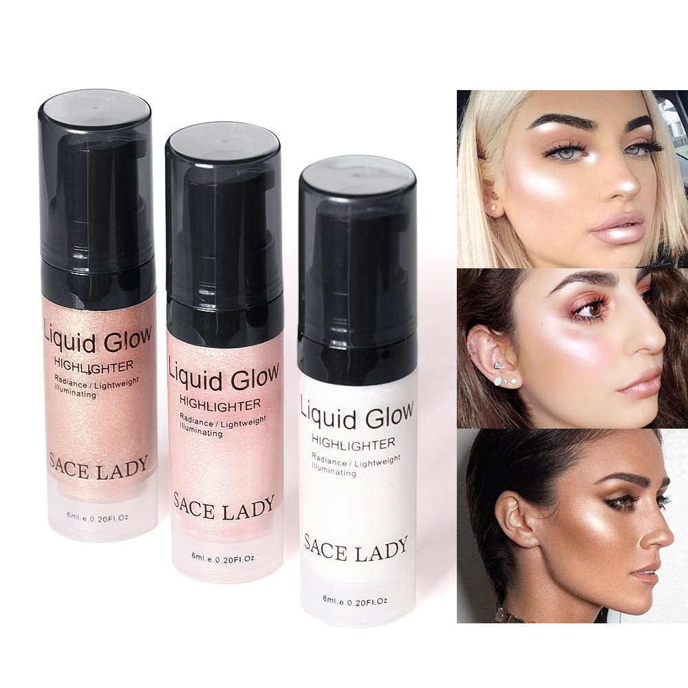 SACE LADY Shimmer Pearl Liquid Highlighter Makeup Ultra-Smooth Radiant Illuminator Face Cheekbones Glow Makeup,Travel Size Mini 6ml/0.20Fl Oz (2.Rose Gold)