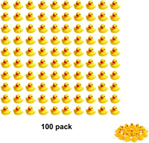 "Sohapy 100Pcs Mini Yellow Rubber Ducks Baby Shower Rubber Ducks, Squeak Fun Baby Yellow Rubber Bath Toy Float Fun Decorations for Shower Birthday Party Favors Gift 100Pcs 1.37"" x 1.57""x 1.18"" Yellow"