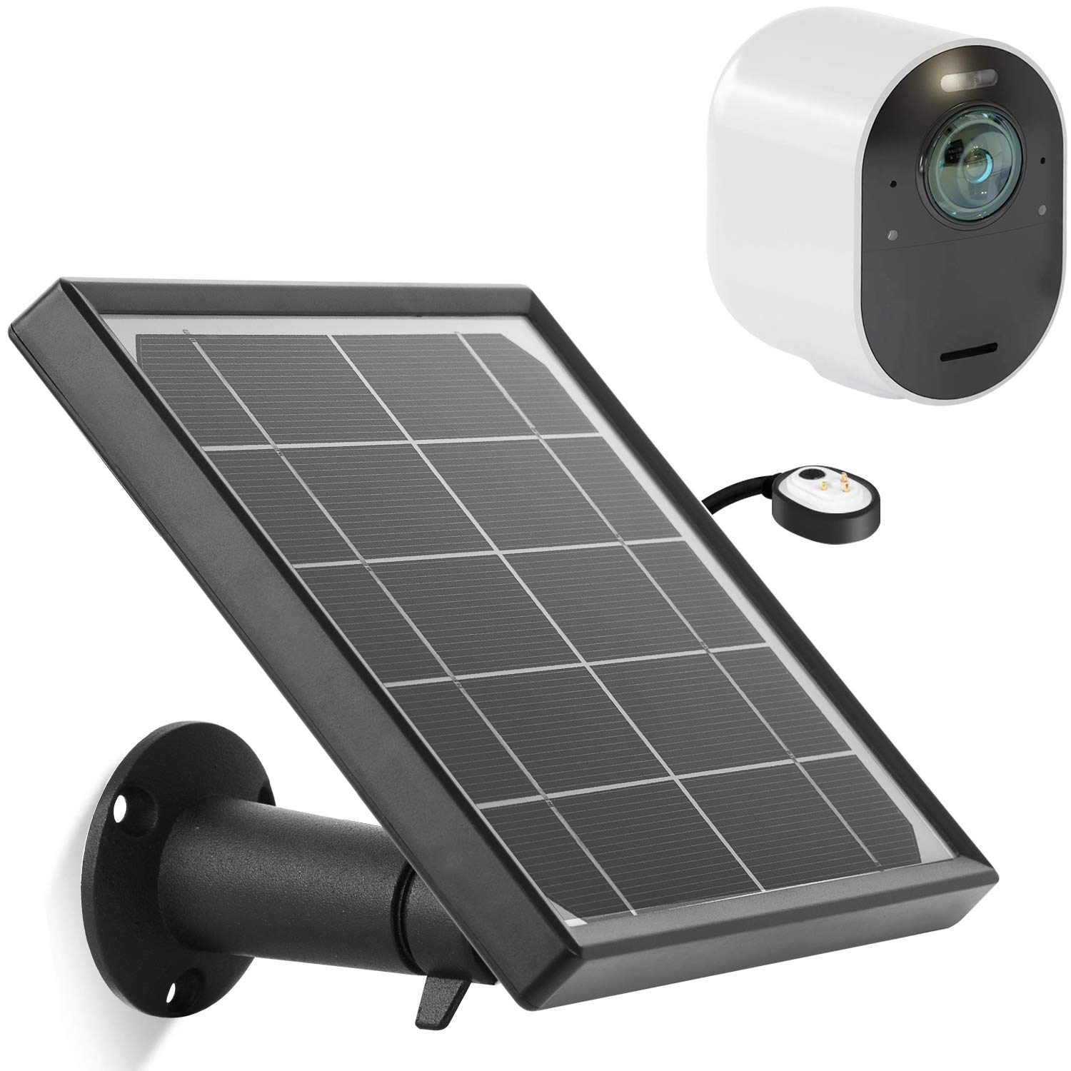 Solar Panel with Power Outdoor Magnetic Charging Cable for Arlo Ultra, Waterproof Charge Continuously for Your Arlo Surveillance Camera (Black)