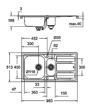 Grohe 31569SD0 Fregadero de Cocina, K400+, 60 cm: Amazon.es: Bricolaje y herramientas