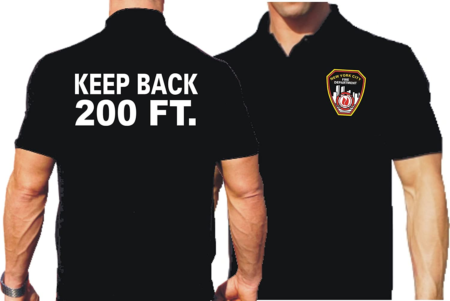 Polo da Black, keep BACK 200 ft. con Emblem New York Fire Department feuer1
