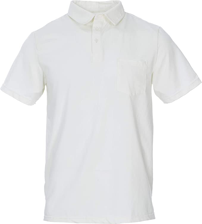 XS KicKee Menswear Solid Short Sleeve Performance Jersey Polo in Natural