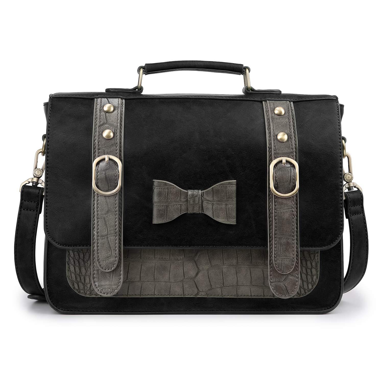 8631bf967b ECOSUSI Sac Bandoulière Vintage pour Femme Sac à Main Rétro Sac École porté  épaule Noir product