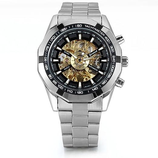 Jewelrywe Relojes de Hombre Mecánico Automático Hueco Reloj Casual Elegante Dial Negro y Oro, Transparente Correa de Acero Inoxidable, Regalo de Hombre: ...