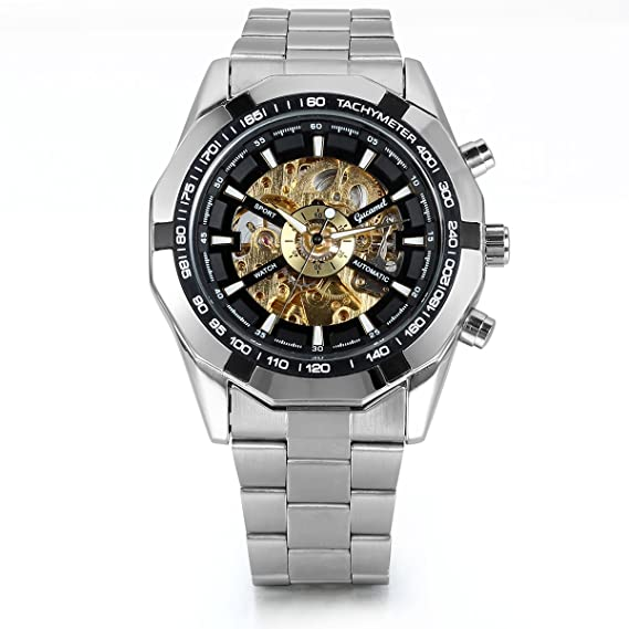 9e0a0e23e837c Men s Stainless Steel Skeleton Dial Auto Mechanical Wrist Watch  Thanksgiving Christmas Gifts for Him