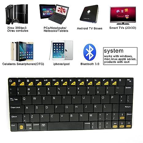 BK102 Mini Teclado Universal Inalámbrico para iPhone iPad BQ Samsung LG Negro