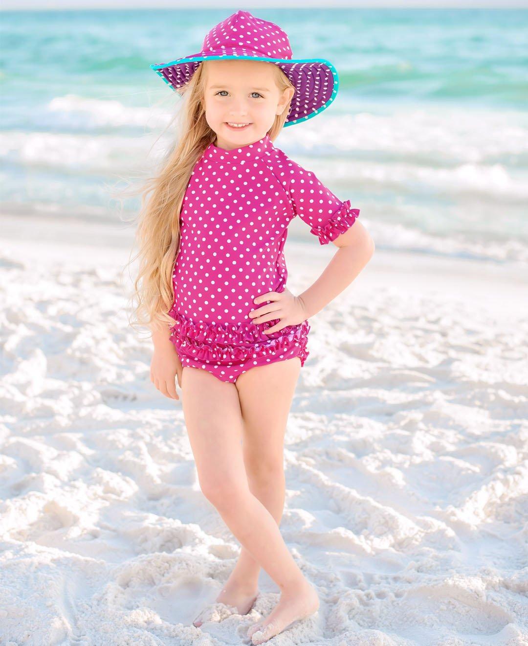 RuffleButts Little Girls Rash Guard 2-Piece Swimsuit Set - Berry Polka Dot Bikini with UPF 50+ Sun Protection - 3T by RuffleButts (Image #2)