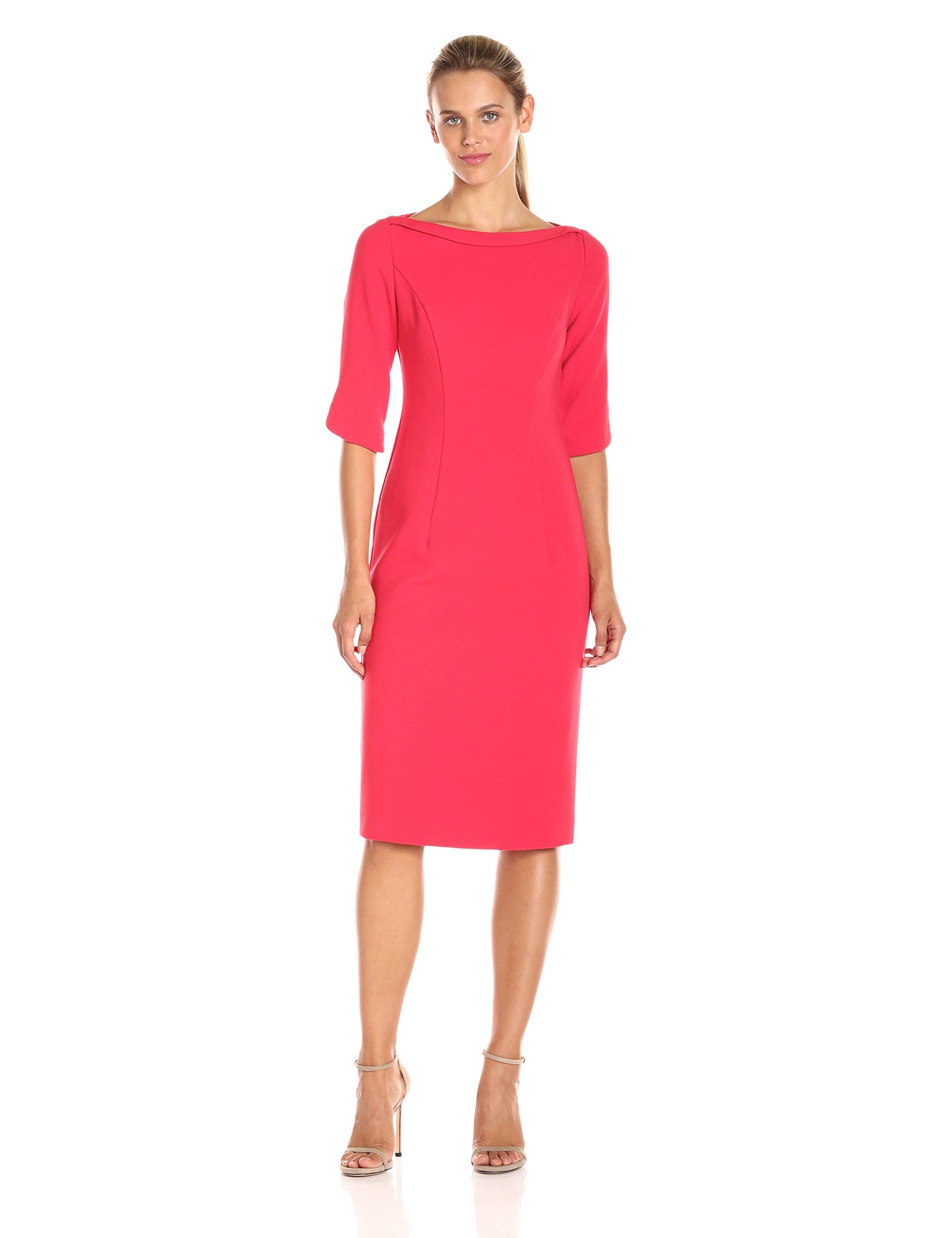 Black Halo Women's Nuelle 3/4 Slv Sheath Dress, Chic Red, 4