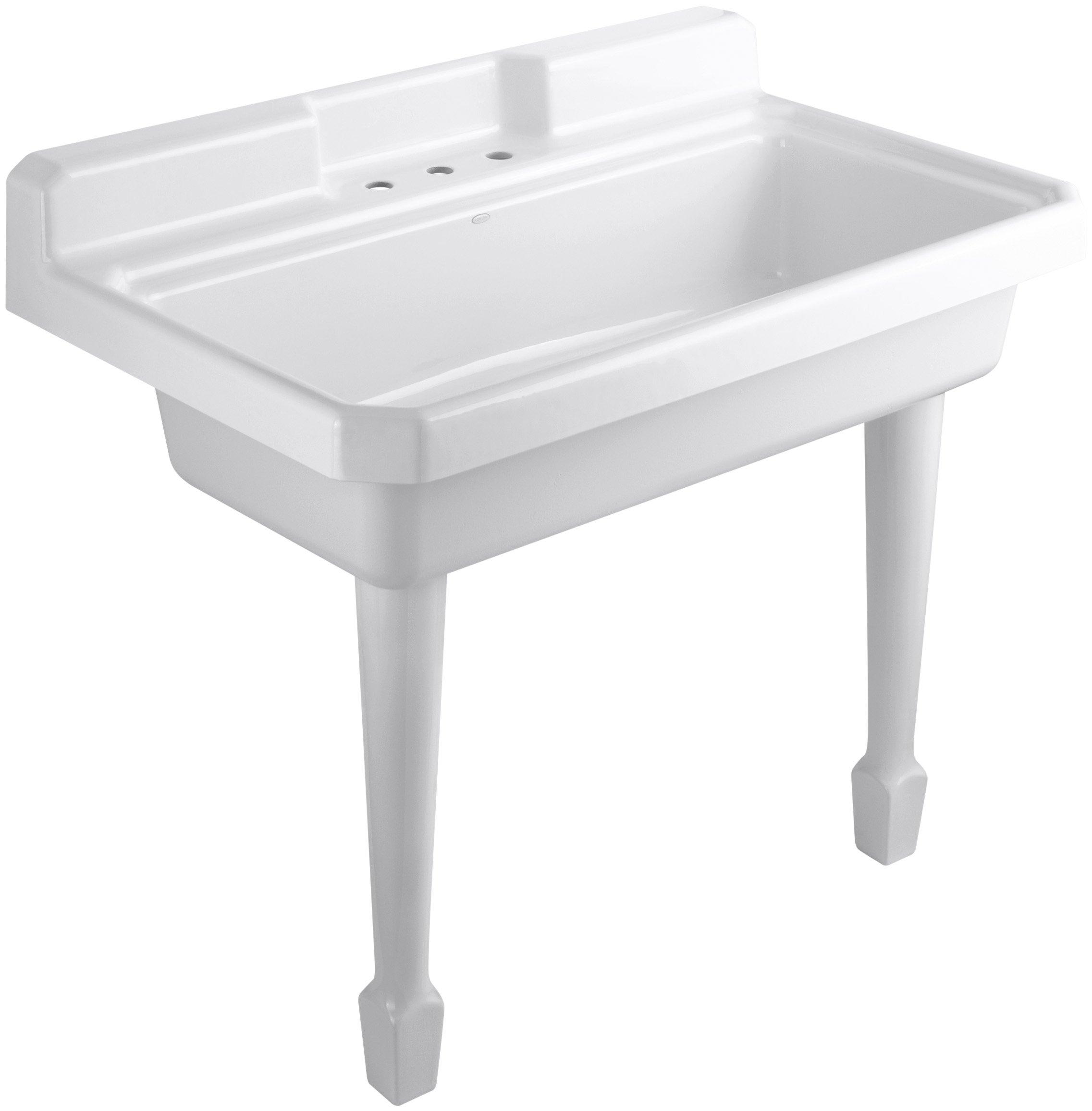 KOHLER K-6607-3-0 Harborview Self-Rimming or Wall-Mount Utility Sink, White