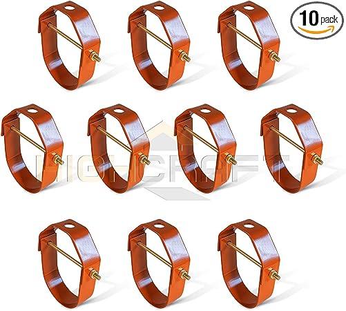 10 Pack Highcraft HCS-PL02-10 Clevis Hanger Standard Uncoated Steel 2 inches Black