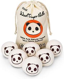 Wool Dryer Balls - Cute Panda - Reusable Premium Quality Organic Eco Pure Natural Fabric Softener by iLiveX - Better Alternative to Dryer Sheets & Plastic Laundry Balls & Liquid Softener (6 Pack)