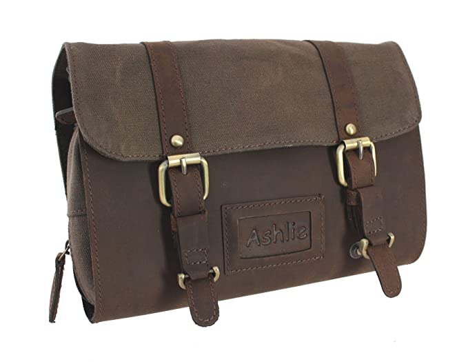 Ashlie Leather Oiled Leather and Fabric Gents Hanging Washbag 7010 Brown fe3674feac1f0