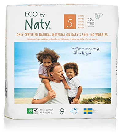 Eco By Naty Premium Disposable Diapers for Sensitive Skin, Size 5, 132 Count,