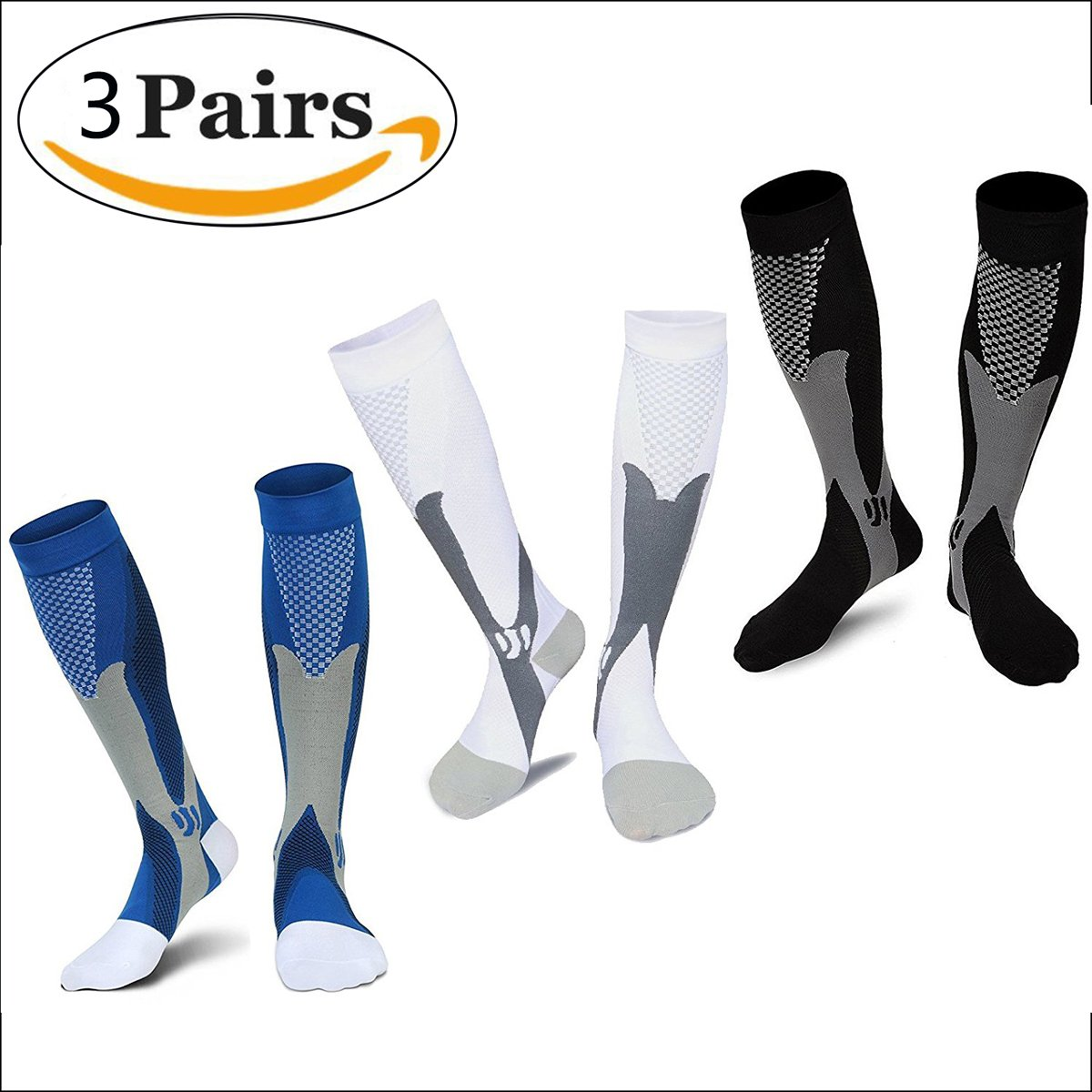 Sintiz Compression Socks for Men & Women (1/2/3 Pairs),Knee High Stockings Graduated Support Athletic Running Pregnancy Health Travel Running Flight Nurses & Recovery Black + White + Blue L/XL