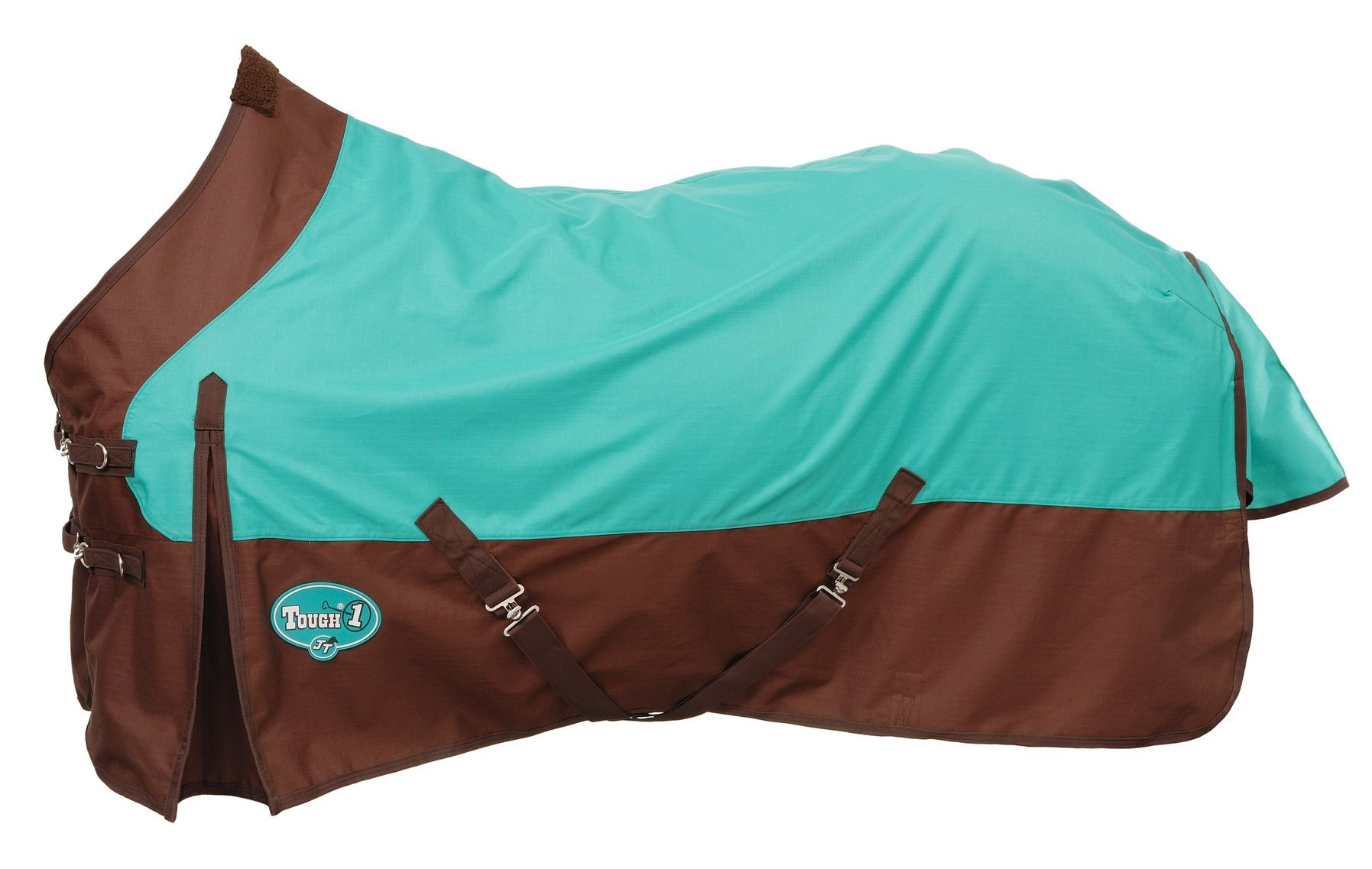 Tough 1 1200 Denier Water Repellent Horse Sheet, Turquoise/Brown, 72-Inch by Tough 1 (Image #1)
