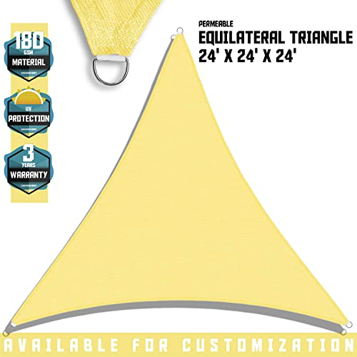 TANG Sunshades Depot Yellow Canary 24 x24 x24 Sun Shade Sail 180 GSM Equilateral Triangle Permeable Canopy CustomSize Available Commercial Standard