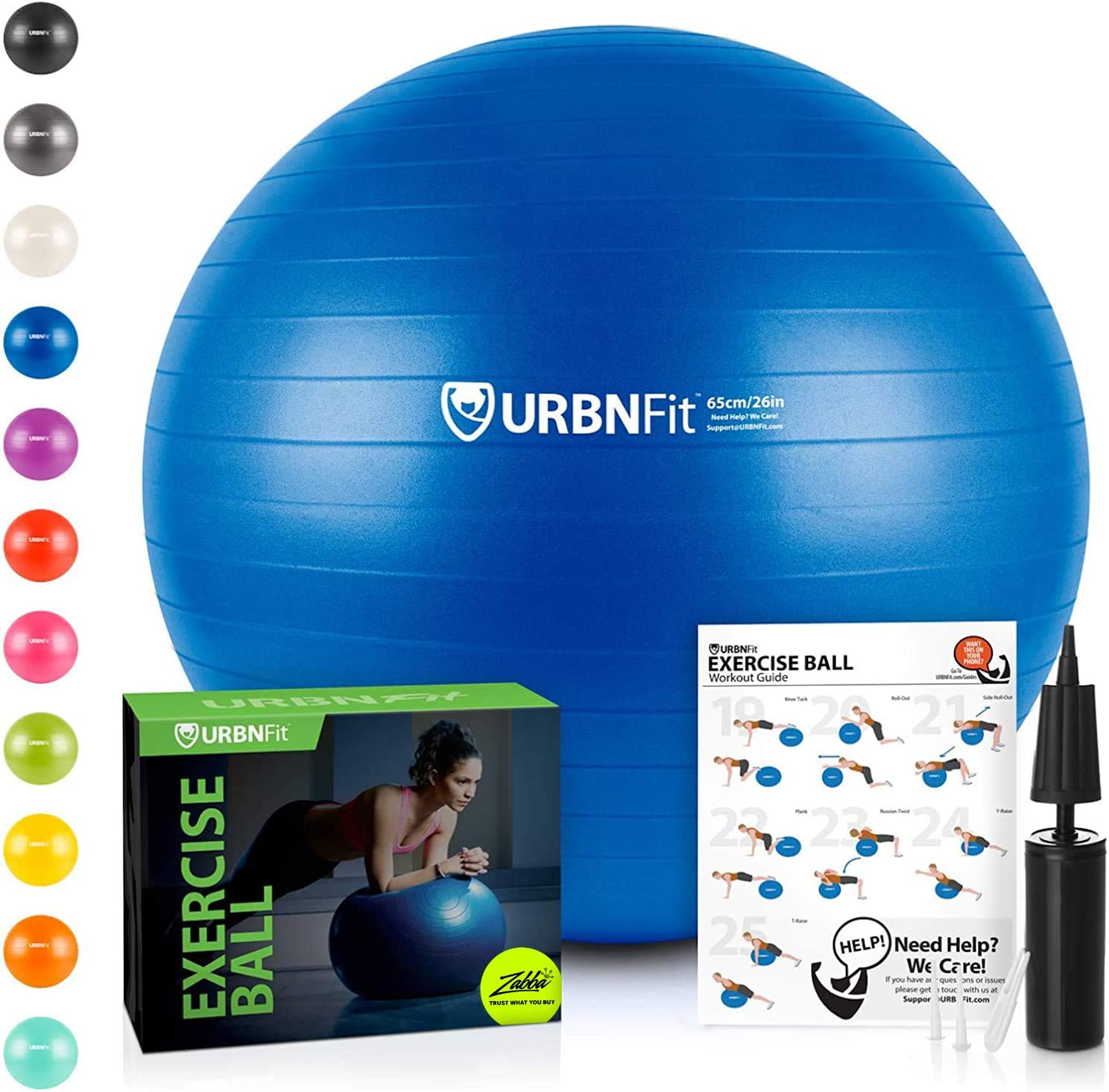 URBNFit Exercise Ball (Multiple Sizes) for Fitness, Stability, Balance & Yoga Ball - Workout Guide & Quick Pump Included - Anti Burst Professional Quality Design: Sports & Outdoors