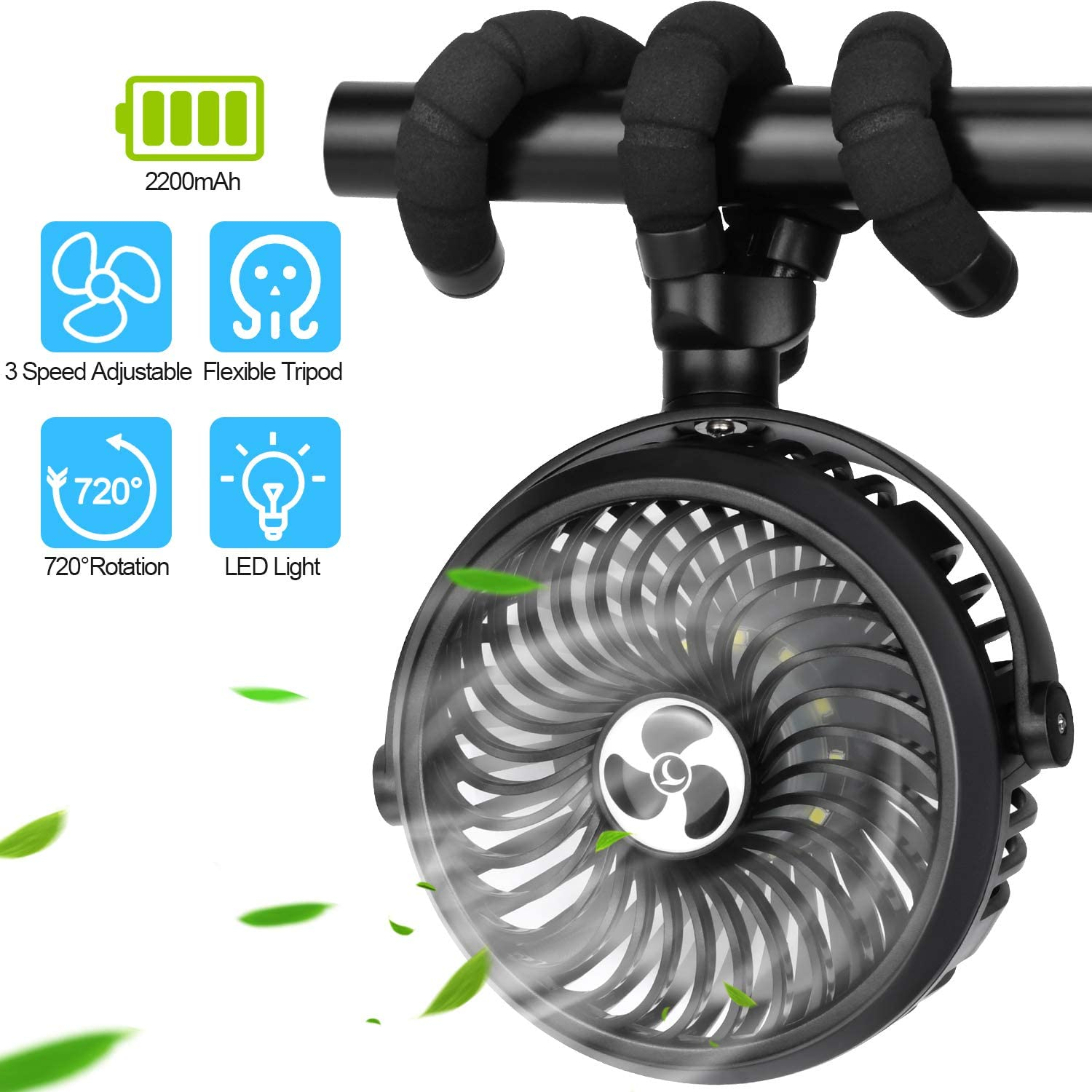 TDONE Stroller Fan Mini Portable Fan USB Personal Fan Long Working Handheld Fan 12pcs LED Camping Fan Batterry Operated Fan Clip on Fan for Stroller Travel