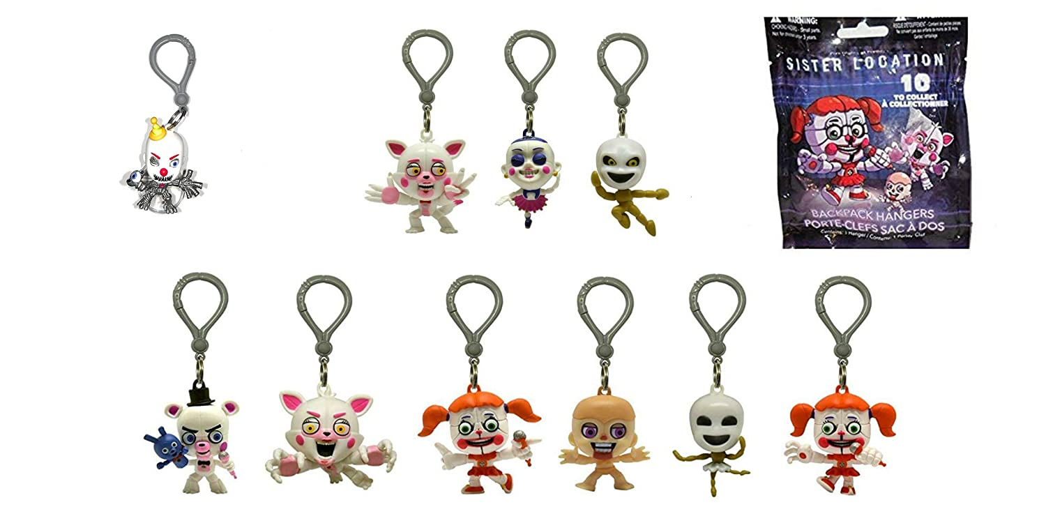 NEW SEALED 3 FIVE NIGHT AT FREDDY/'S SISTER LOCATION BACKPACK HANGERS LOT OF