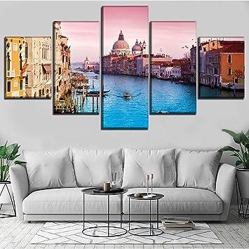 Hhlwl 5 Pièces Canal Gondole Italie Venise Peinture Moderne